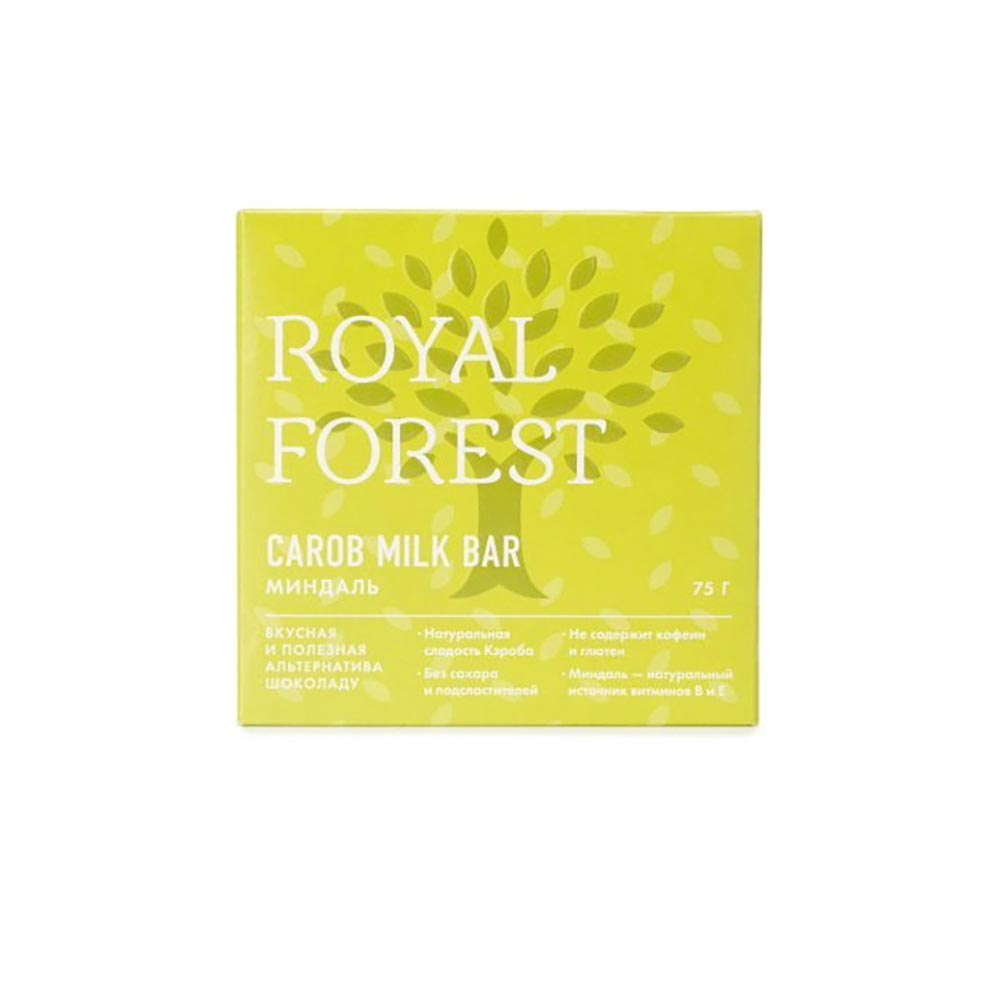 Шоколад Кэроб и миндаль | 75 г | Royal Forest