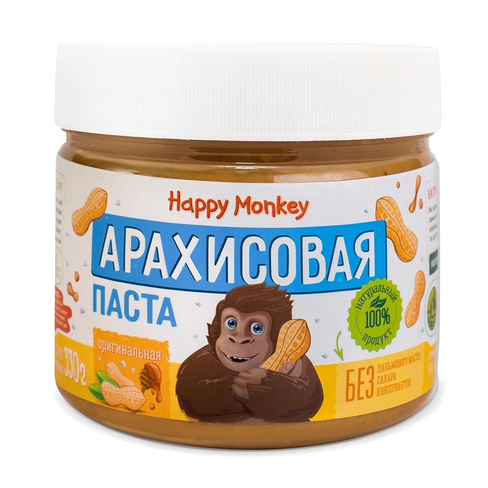 Паста арахисовая Оригинальная | 330 г | Happy Monkey