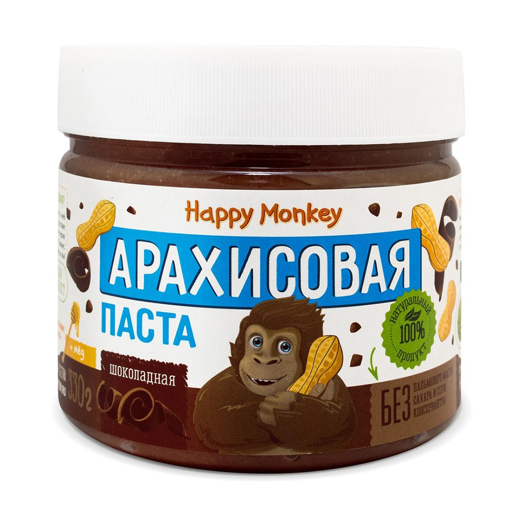Паста арахисовая Шоколадная | 330 г | Happy Monkey